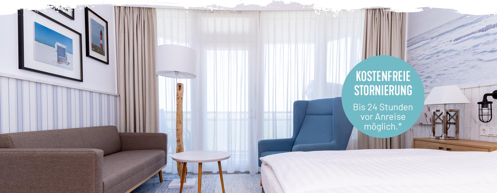 Buchung mit kostenfreier Stornierung von Hotelzimmern im Wyn. Strandhotel Sylt
