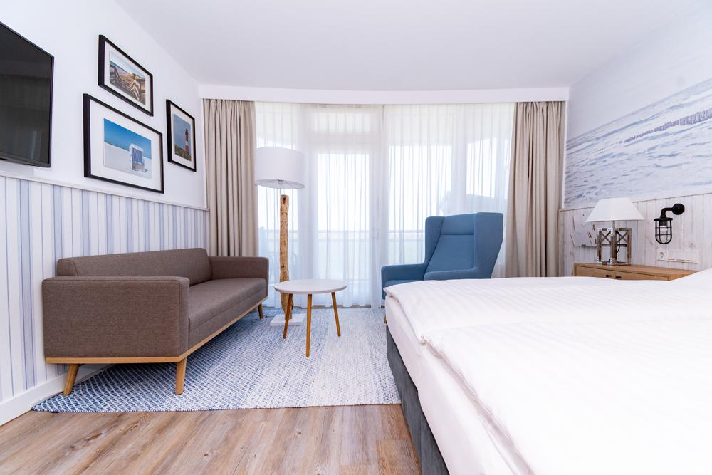 Hotelzimmer Meerblick mit Ausstattung im Wyn. Strandhotel Sylt