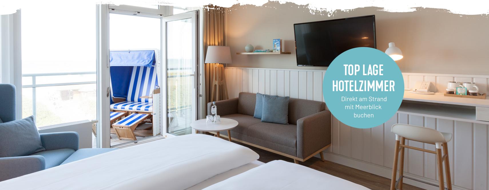 Hotelzimmer am Strand mit Meerblick im Wyn. Strandhotel Wyn buchen