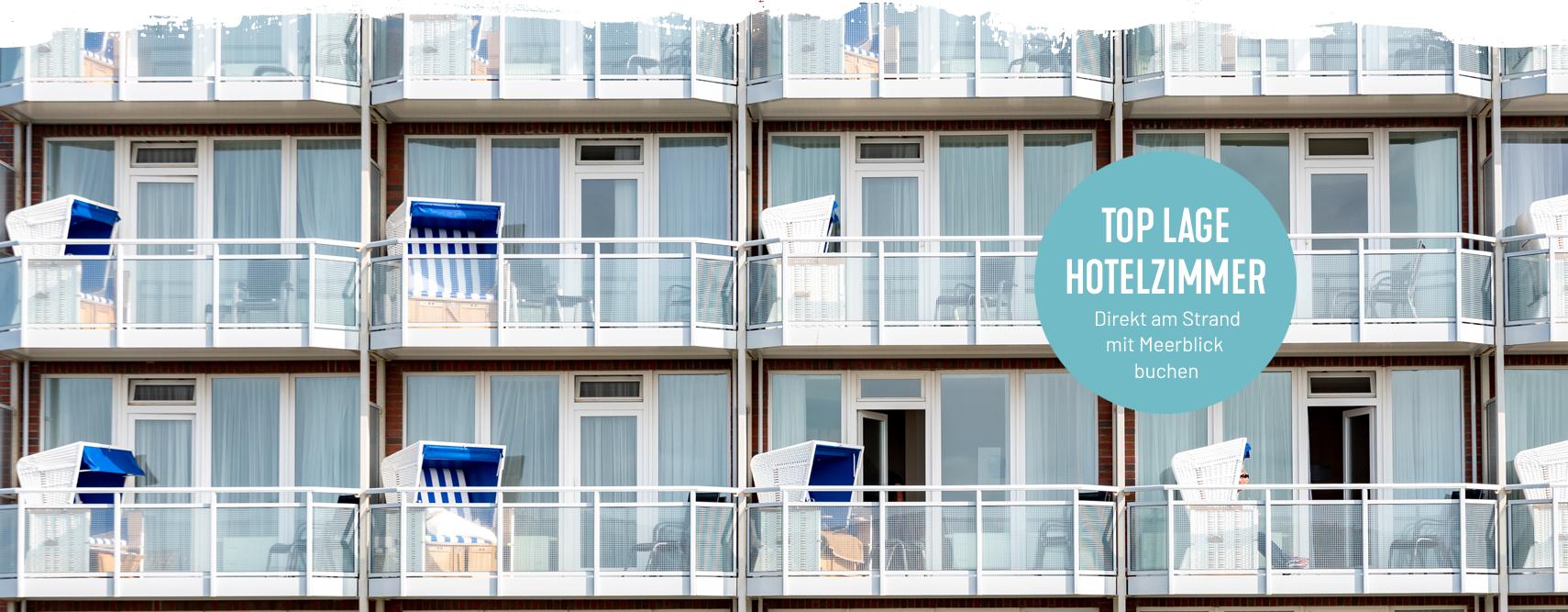 Hotelzimmer mit Meerblick im Wyn. Strandhotel Sylt in Westerland